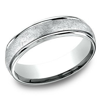 Benchmark 6mm White Swirl Center Wedding Band