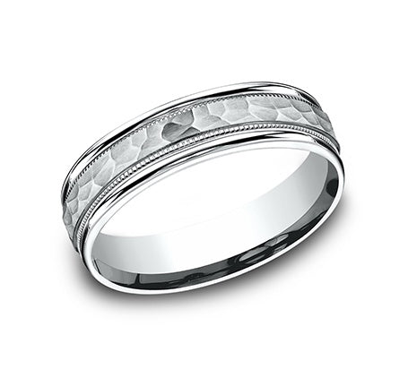Benchmark 14k White Gold Hammered Wedding Band with Milgrain