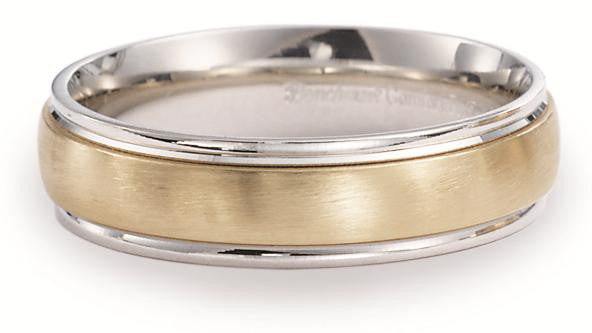 Benchmark 6mm Two Tone Satin Finish Wedding Band