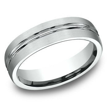 Benchmark 6mm White Satin Finish Wedding Band