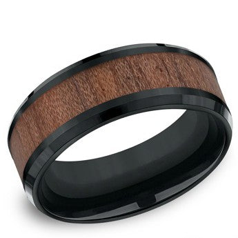 Benchmark 8mm Black Colbalt Rose Wood Wedding Band