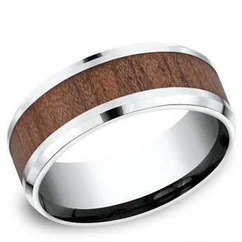 Benchmark 8mm White Colbalt Rose Wood Wedding Band