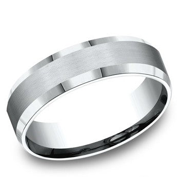 Benchmark 6mm White Cobalt Satin Finish Wedding Band