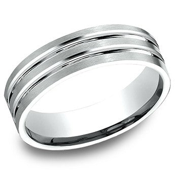 Benchmark 6mm White Gold Satin Finish Wedding Band