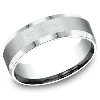 Benchmark 7mm White Gold Satin Finish Wedding Band