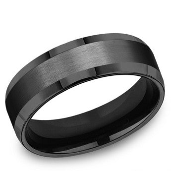 Benchmark 7mm Satin Finish Black Titanium Wedding Band