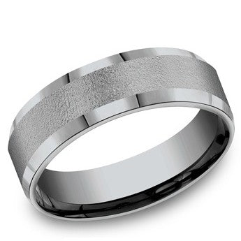 Benchmark 7mm Beveled Edge Tantalum Wedding Band