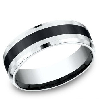 Benchmark 7mm Colbalt and Black Ceramic Wedding Band