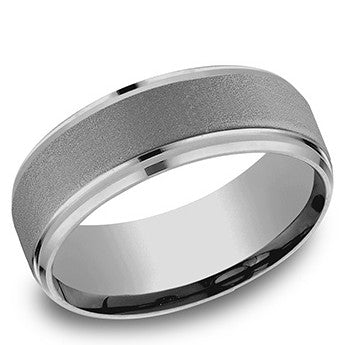 Benchmark 8mm Drop Bevel Edge Tantalum Wedding Band