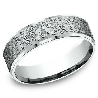 Benchmark 6mm Engraved Roses Wedding Band