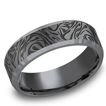 Benchmark 7mm Mokume Tantalum Wedding Band