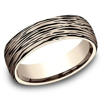 Benchmark 6.5mm Tree Bark Wedding Band