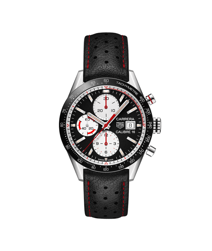 TAG Heuer Carrera Calibre 16 Day/Date 41mm Watch with Black Dial