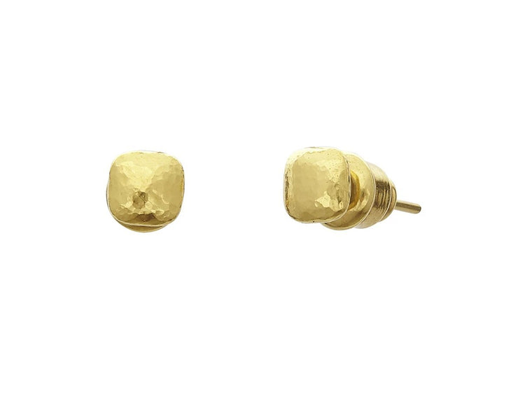 Gurhan Hammered Spell Cube 22k Yellow Gold Earrings