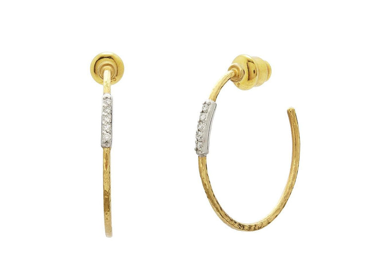 Gurhan Yellow Gold Geo Hoop Earrings with Diamonds