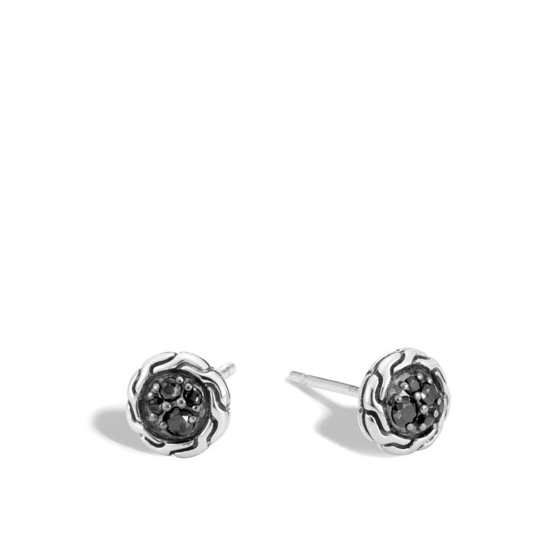 John Hardy Classic Chain Stud Earrings with Black Sapphire, Spinel