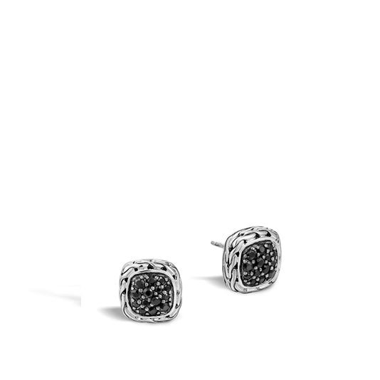 John Hardy Classic Chain Stud Earring with Black Sapphire