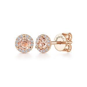 Gabriel & Co 14K Rose Gold Morganite Stud Earrings