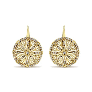 Gabriel & Co 14K Yellow Gold Flower Disc Drop Earrings