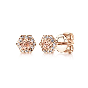 Gabriel & Co 14K Rose Gold Hexagonal Morganite Stud Earrings