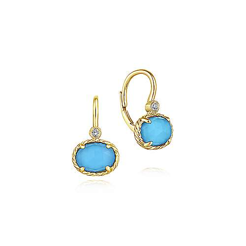 Gabriel & Co Rock Crystal and Turquoise Oval Drop Earrings