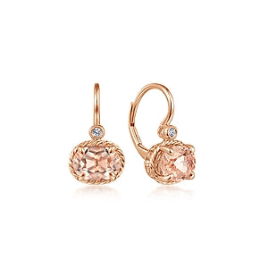 Gabriel & Co 14K Rose Gold Oval Morganite Drop Earrings