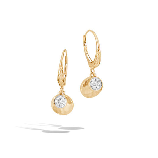 John Hardy 18k Yellow Gold Hammered Drop Earring with Diamonds