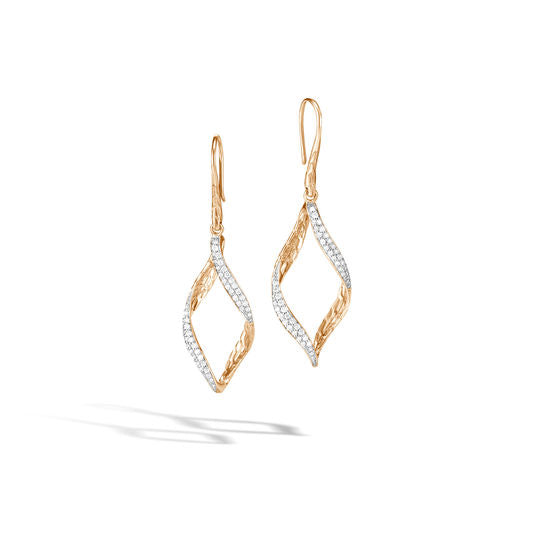 John Hardy 18k Yellow Gold Wave Drop Earring with Diamonds