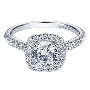 Gabriel & Co 'Lyla' Cushion Halo Diamond Engagement Ring
