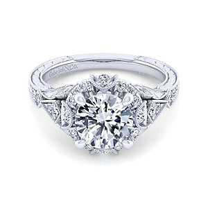 Gabriel and Co. 'Annadale' Vintage Style Halo Engagement Ring