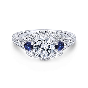 Gabriel and Co. 'Chrystie' Vintage Style Engagement Ring