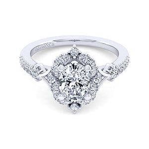 Gabriel and Co. 'Veronique' Vintage Style Halo Engagement Ring
