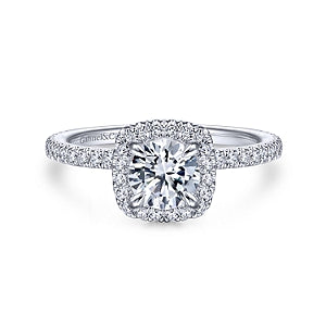 Gabriel & Co 'Amaya' Cushion Halo Diamond Engagement Ring