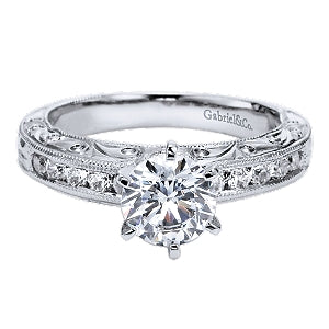 Gabriel & Co 'Ambra' Diamond Engraved Engagement Ring