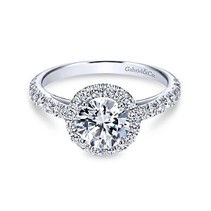 Gabriel & Co 'Rachel' Round Halo Diamond Engagement Ring