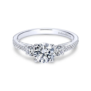 Gabriel & Co 'Rory' Three Stone Engagement Ring
