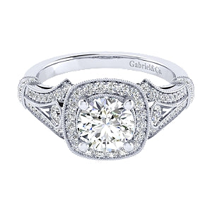 Gabriel and Co. 'Delilah' Vintage Style Halo Engagement Ring