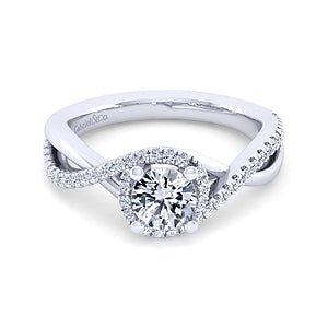 Gabriel & Co 'Courtney' Halo Twist Engagement Ring
