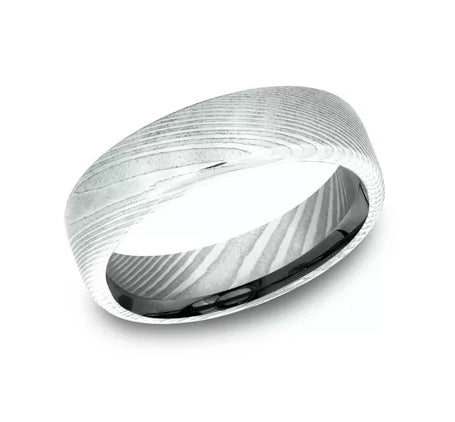Benchmark Damascus Steel Comfort Fit Men's Wedding Band