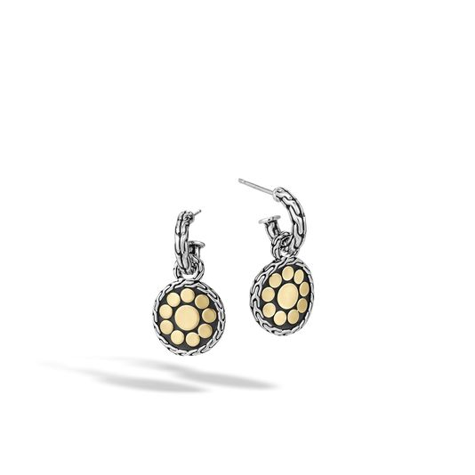 John Hardy Sterling Silver and 18k Yellow Gold Dot Drop Earring
