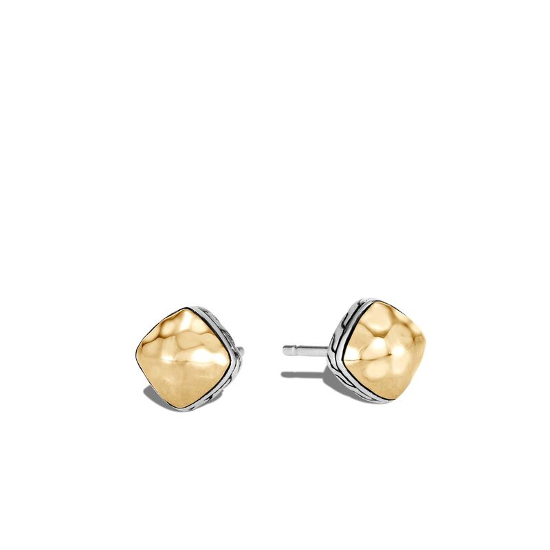 John Hardy Classic Chain Sugarloaf Stud Earrings with Yellow Gold