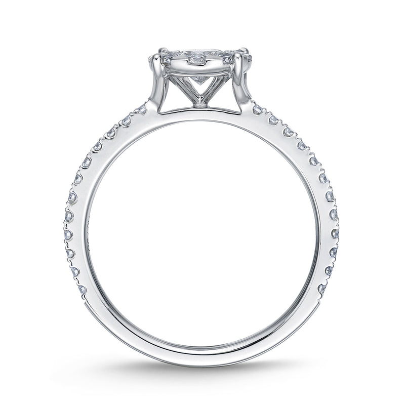 Memoire Bouquet Engagement Ring with Side Diamonds