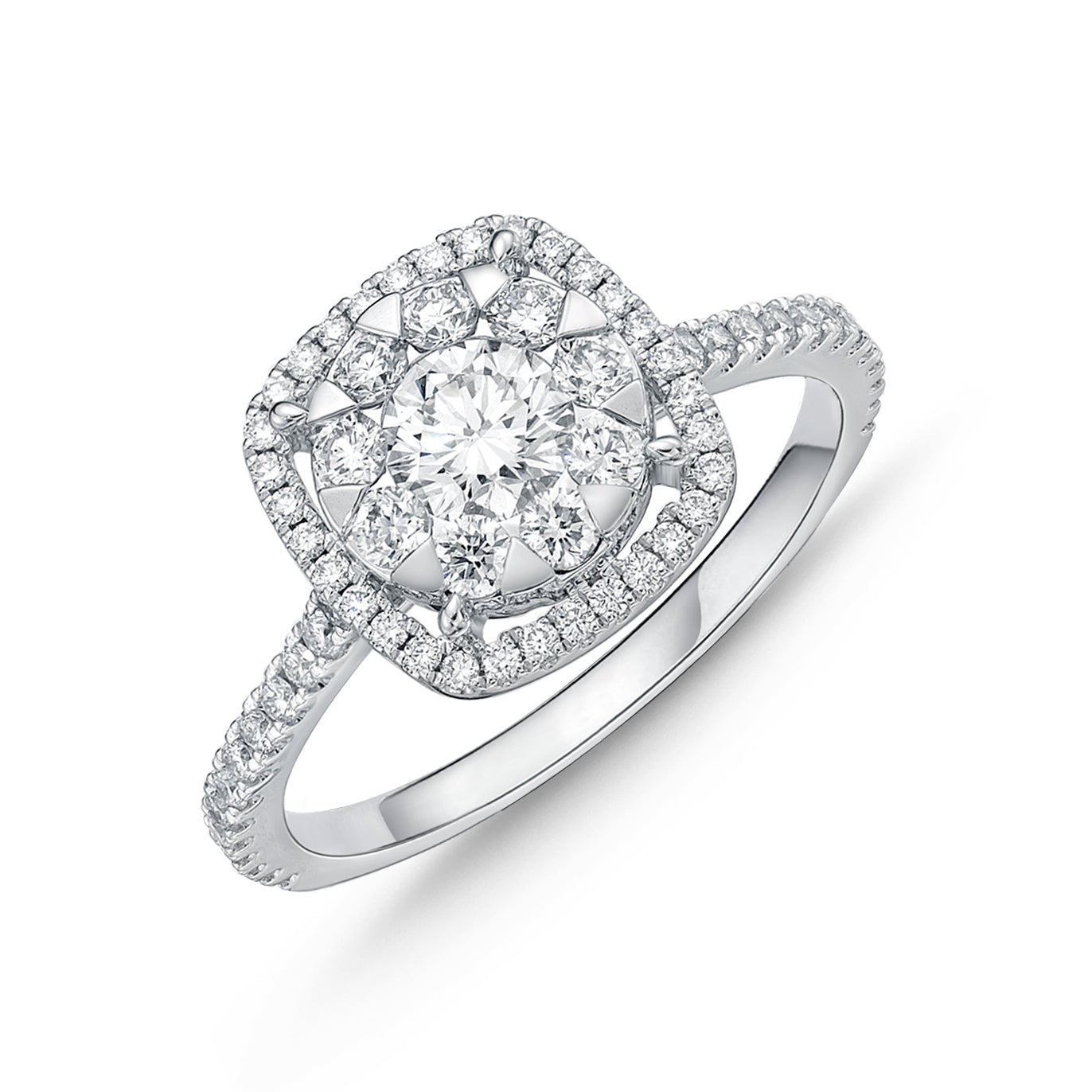Memoire Bouquet Halo Engagement Ring