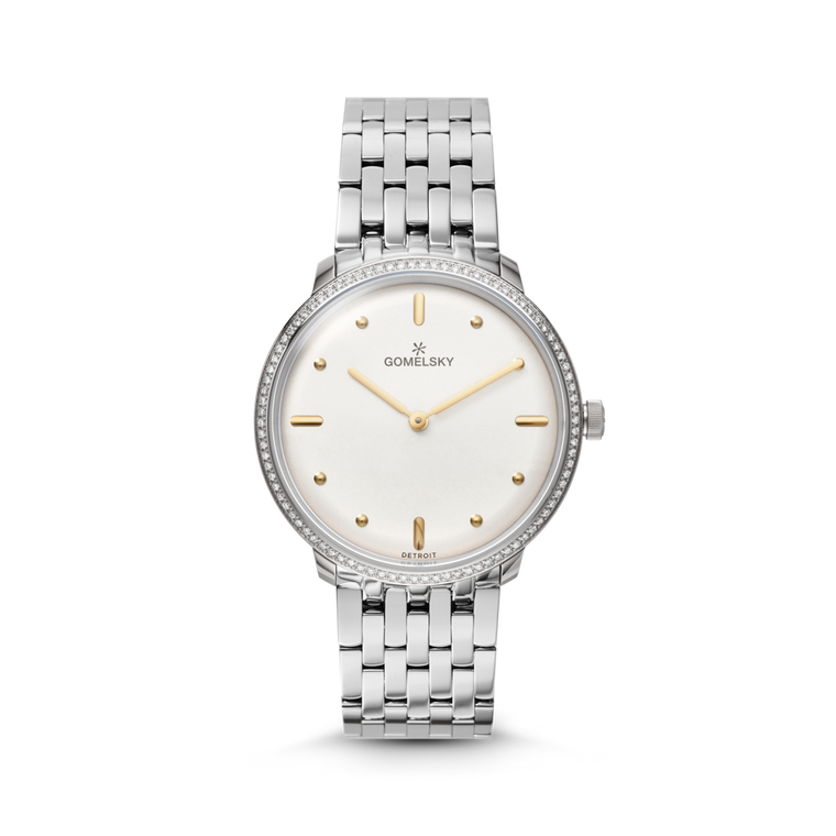 The Gomelsky 'Audry' 36mm Diamond Watch with Silver Dial