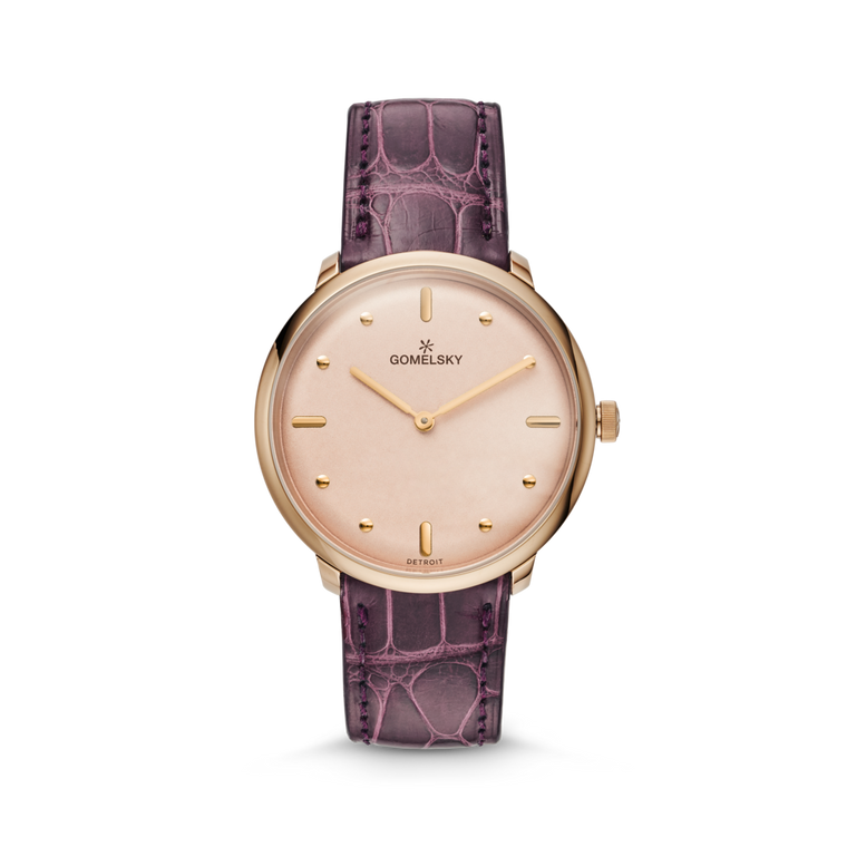 The Gomelsky 'Audry' 36mm Watch with Blush Dial