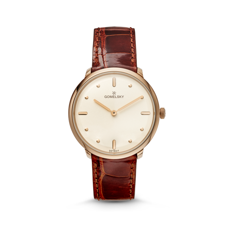 The Gomelsky 'Audry' 36mm Watch with Champagne Dial