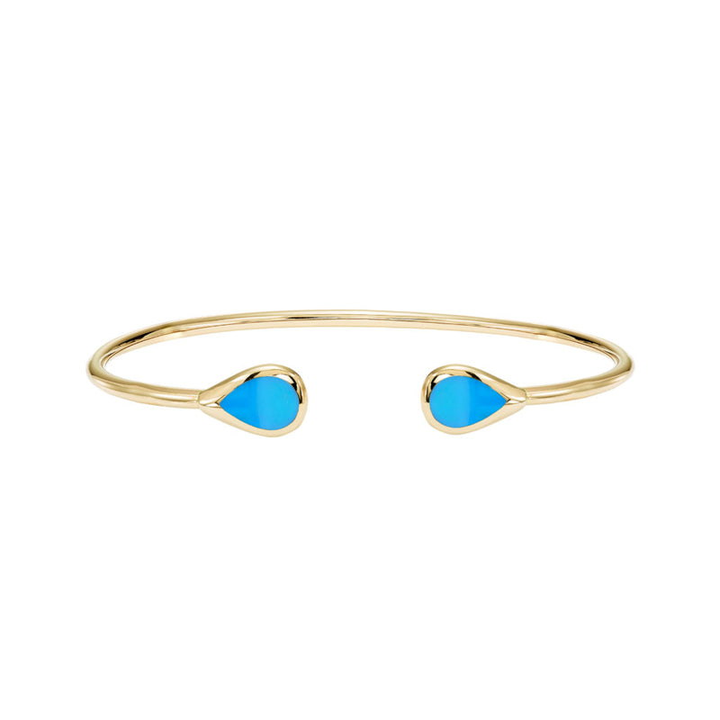Kabana 14k Yellow Gold and Turquoise Cuff Bracelet