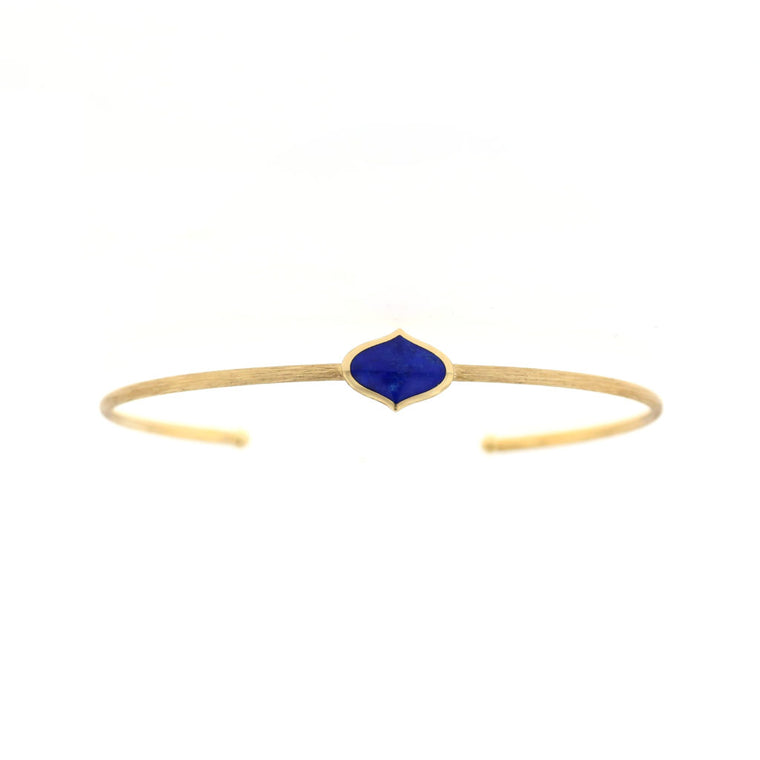 Kabana 14k Yellow Gold Cuff Bracelet with Marquise Shaped Lapis