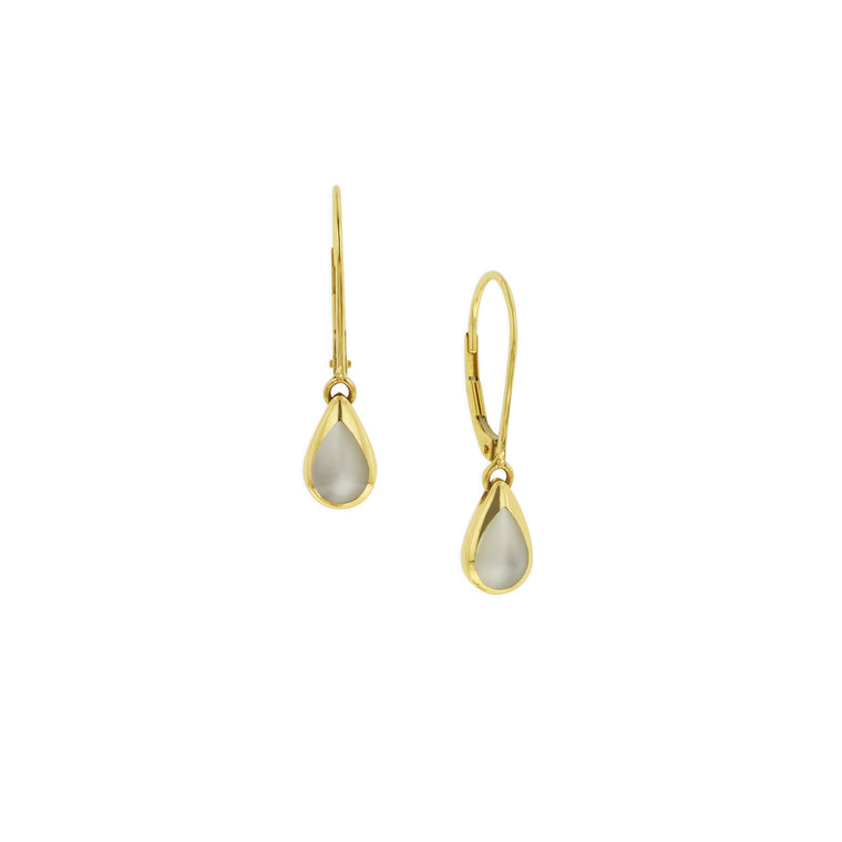 Kabana White Mother of Pearl Pear Drop Earrings