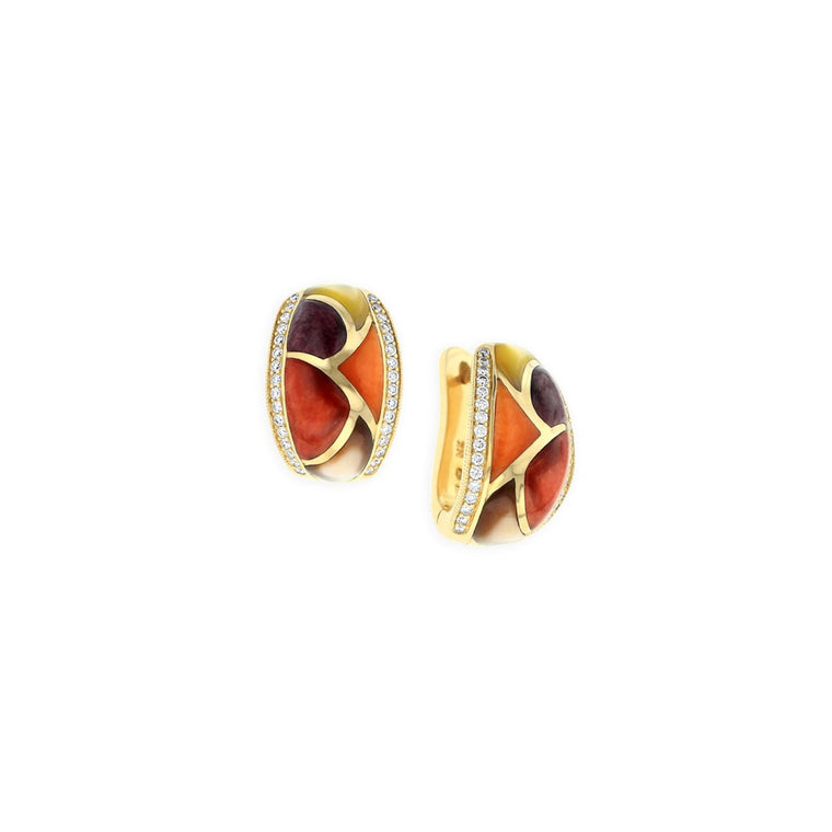 Kabana Hinged Hoop Earrings with Inlay and Diamonds